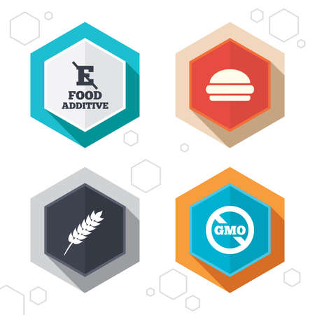 additive: Hexagon buttons. Food additive icon. Hamburger fast food sign. Gluten free and No GMO symbols. Without E acid stabilizers. Labels with shadow.