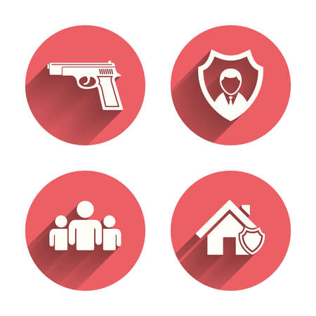 home group: Security agency icons. Home shield protection symbols. Gun weapon sign. Group of people or Share. Pink circles flat buttons with shadow.