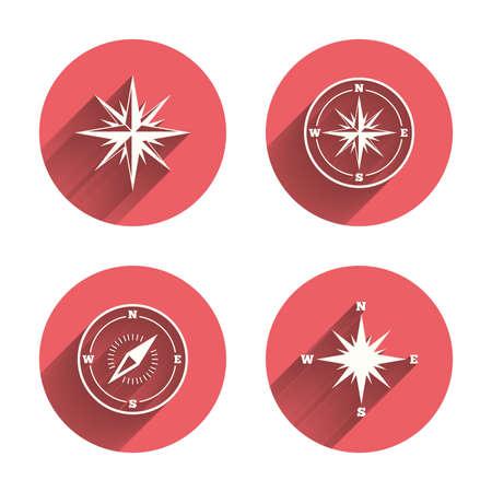 Icone di navigazione rosa dei venti. Simboli Compass. Coordinate segno sistema. Cerchi rosa bottoni piatti con ombra. Vettore