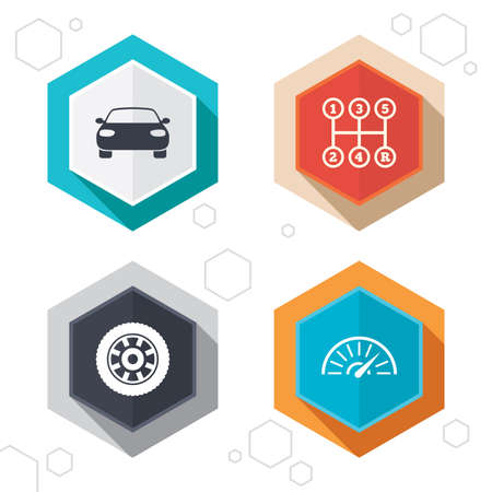iconos de transporte: Hexagon buttons. Transport icons. Vectores