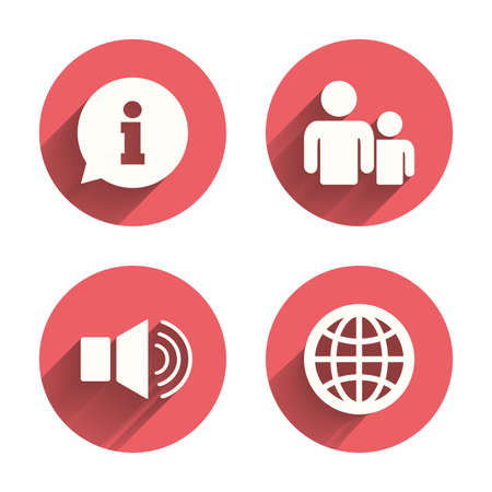 shadow people: Information sign. Group of people and speaker volume symbols. Internet globe sign. Communication icons. Pink circles flat buttons with shadow.