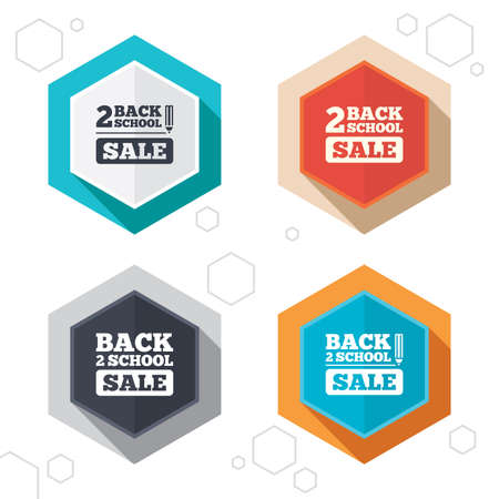 special education: Hexagon buttons. Back to school sale icons. Illustration