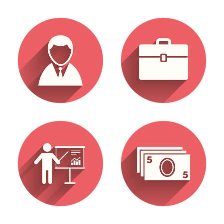 cash money: Businessman icons. Human silhouette and cash money signs.