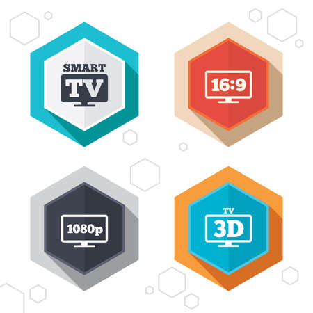 3d mode: Hexagon buttons. Smart TV mode icon. Aspect ratio 16:9 widescreen symbol. Full hd 1080p resolution. 3D Television sign. Labels with shadow.