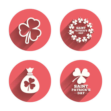 feast of saint patrick: Saint Patrick day icons. Money bag with clover sign. Wreath of trefoil shamrock clovers. Symbol of good luck. Pink circles flat buttons with shadow. Illustration