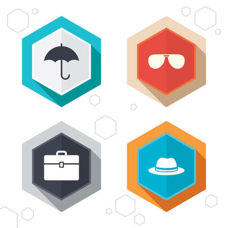 business case: Hexagon buttons. Clothing accessories icons. Umbrella and sunglasses signs. Headdress hat with business case symbols. Labels with shadow.