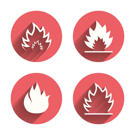 inflammable: Fire flame icons. Heat symbols. Inflammable signs. Pink circles flat buttons with shadow. Vector Illustration