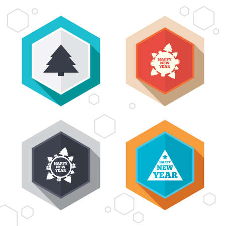 world  hexagon: Hexagon buttons. Happy new year icon. Christmas trees signs. World globe symbol. Labels with shadow