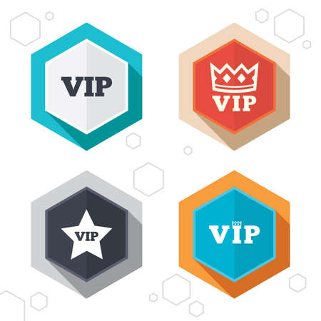 vip badge: Hexagon buttons. VIP icons. Very important person symbols. King crown and star signs. Labels with shadow.