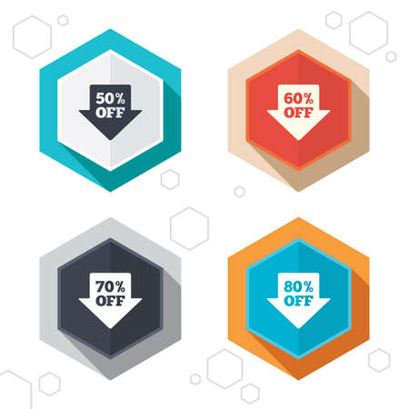 60 70: Hexagon buttons. Sale arrow tag icons. Discount special offer symbols. 50%, 60%, 70% and 80% percent off signs. Labels with shadow.