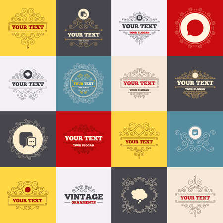 chat icons: Vintage frames, labels. Chat icons.