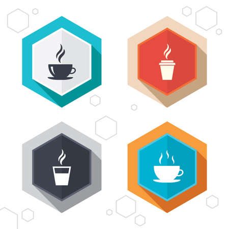 takeout: Hexagon buttons. Coffee cup icon. Hot drinks glasses symbols. Take away or take-out tea beverage signs. Labels with shadow.