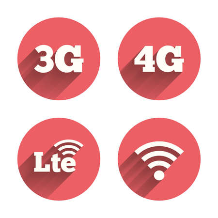 3g: Mobile telecommunications icons. 3G, 4G and LTE technology symbols. Wi-fi Wireless and Long-Term evolution signs. Pink circles flat buttons with shadow.