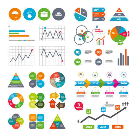 graficas de pastel: Business data pie charts graphs. Clothing accessories icons. Vectores