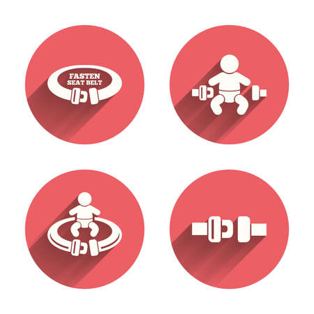 child safety: Fasten seat belt icons. Child safety in accident symbols. Vehicle safety belt signs. Pink circles flat buttons with shadow. Illustration