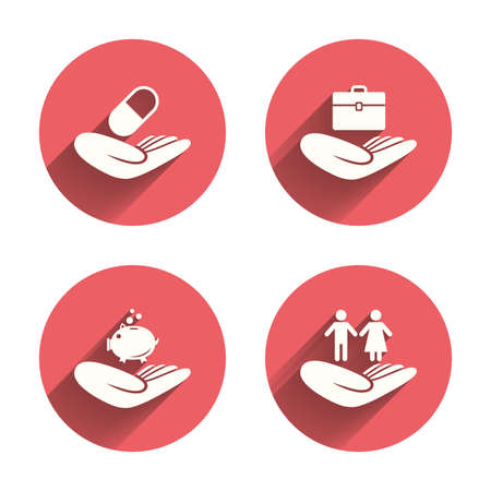 ayudando: Ayudar a manos iconos. Protección y seguros símbolos. Ahorro de dinero financieros, de seguros médicos de la salud. Signo de vida pareja humana. Círculos rosados ??botones planos con sombra. Vectores
