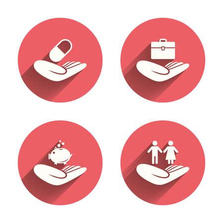 symbol hand: Helfende H�nde Symbole. Schutz und Versicherung Symbolen. Finanzielle Einsparungen Geld, Gesundheit Krankenversicherung. Menschenpaar Lebenszeichen. Rosa Kreisen flache Tasten mit Schatten.