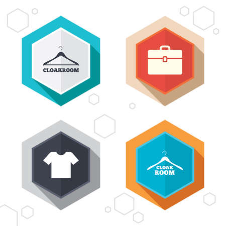 diplomat: Hexagon buttons. Cloakroom icons. Hanger wardrobe signs. T-shirt clothes and baggage symbols. Labels with shadow. Illustration