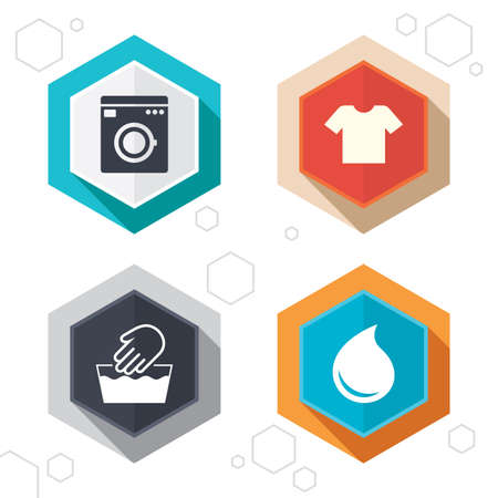 washhouse: Hexagon buttons. Wash machine icon. Hand wash. T-shirt clothes symbol. Laundry washhouse and water drop signs. Not machine washable. Labels with shadow Illustration