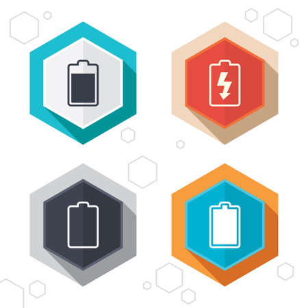 electrochemical: Hexagon buttons. Battery charging icons. Electricity signs symbols. Charge levels: full, empty. Labels with shadow. Illustration