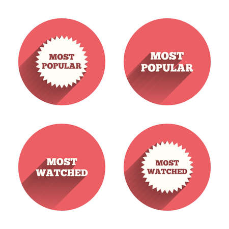 most: Most popular star icon. Most watched symbols. Clients or users choice signs. Pink circles flat buttons with shadow.