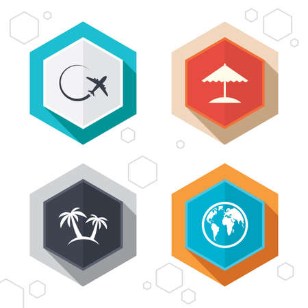 airplane world: Hexagon buttons. Travel trip icon. Airplane, world globe symbols. Palm tree and Beach umbrella signs. Labels with shadow.