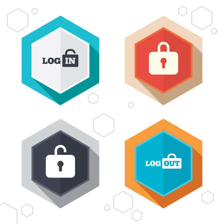 sign out: Hexagon buttons. Login and Logout icons. Sign in or Sign out symbols. Lock icon. Labels with shadow. Illustration