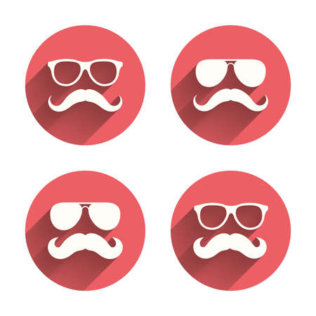 facial hair: Mustache and Glasses icons. Hipster symbols. Facial hair signs. Pink circles flat buttons with shadow.