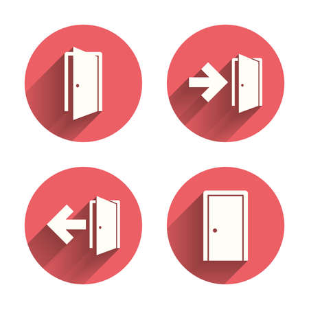 exit door: Doors icons. Emergency exit with arrow symbols. Fire exit signs. Pink circles flat buttons with shadow.