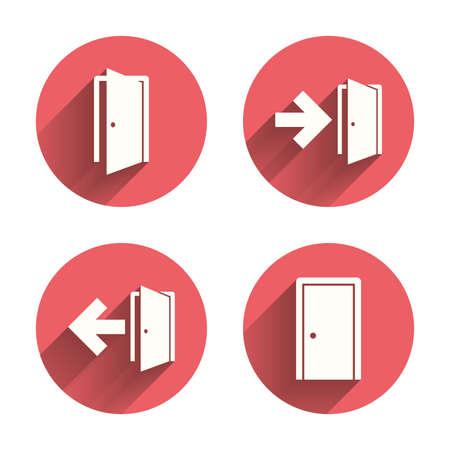 cerrar la puerta: Puertas iconos. salida de emergencia con símbolos de flecha. señales de salida de incendios. círculos rosados ??botones planos con la sombra.