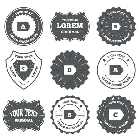 consommation: Vintage emblems, labels. Energy efficiency class icons. Energy consumption sign symbols. Class A, B, C and D. Design elements. Illustration