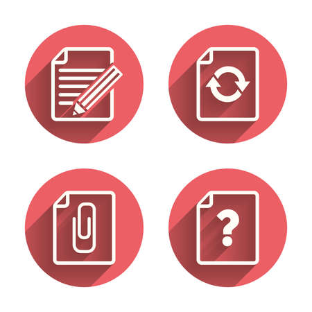 attach: File refresh icons. Question help and pencil edit symbols. Paper clip attach sign. Pink circles flat buttons with shadow. Illustration