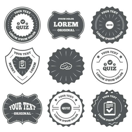 umfrage: Vintage emblems, labels. Quiz icons. Human brain think. Checklist symbol. Survey poll or questionnaire feedback form. Questions and answers game sign. Design elements. Illustration