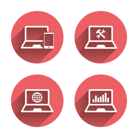Notebook laptop pc icons. Internet globe sign. Repair fix service symbol. Monitoring graph chart. Pink circles flat buttons with shadow.