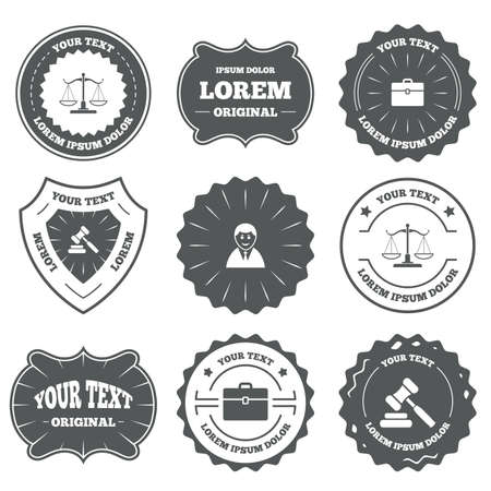 court symbol: Vintage emblems, labels. Scales of Justice icon. Client or Lawyer symbol. Auction hammer sign. Law judge gavel. Court of law. Design elements.
