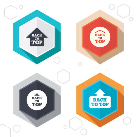 Hexagon buttons. Back to top icons. Scroll up with arrow sign symbols. Labels with shadow.