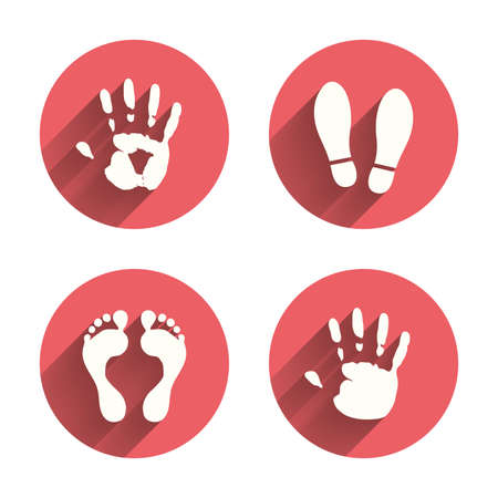 flat shoes: Hand and foot print icons. Imprint shoes and barefoot symbols. Stop do not enter sign. Pink circles flat buttons with shadow. Illustration