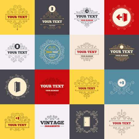 Cadres vintage, étiquettes. Icônes de portes. Banque d'images - 47361716