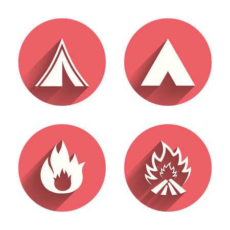 long weekend: Tourist camping tent icons. Fire flame sign symbols. Pink circles flat buttons with shadow. Illustration