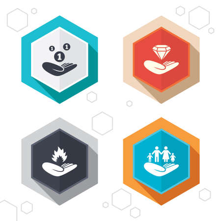 protection incendie: Hexagon buttons. Helping hands icons. Financial money savings, family life insurance symbols. Diamond brilliant sign. Fire protection. Labels with shadow.