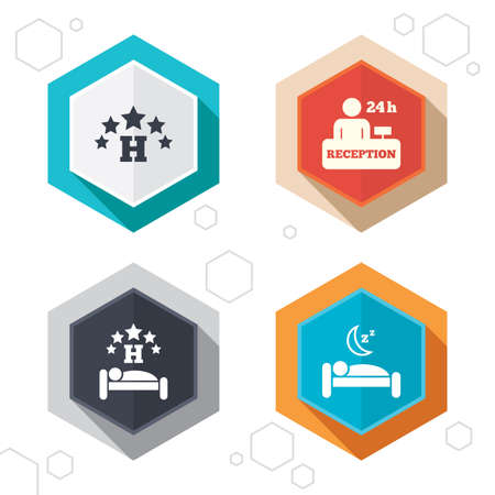 five stars: Hexagon buttons. Five stars hotel icons. Travel rest place symbols. Human sleep in bed sign. Hotel 24 hours registration or reception. Labels with shadow.
