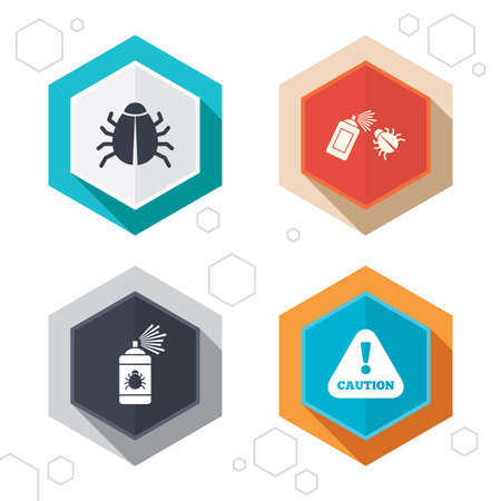 insanitary: Hexagon buttons. Bug disinfection icons. Caution attention symbol. Insect fumigation spray sign. Labels with shadow.