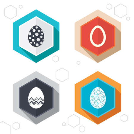 pasch: Hexagon buttons. Easter eggs icons. Circles and floral patterns symbols. Tradition Pasch signs. Labels with shadow.