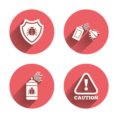 insanitary: Bug disinfection icons. Caution attention and shield symbols. Insect fumigation spray sign. Pink circles flat buttons with shadow.