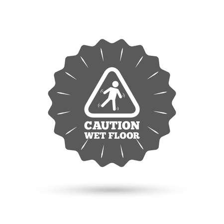 wet floor caution sign: Vintage emblem medal. Caution wet floor sign icon. Illustration