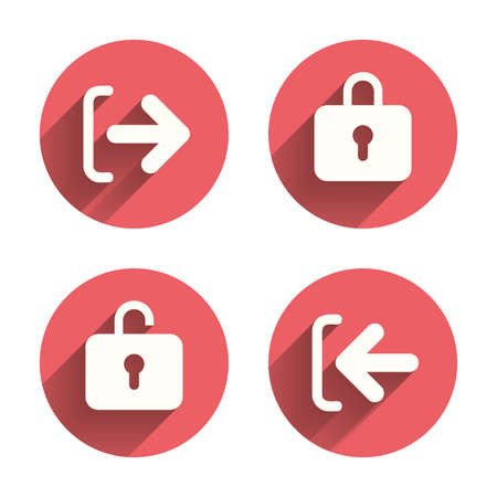 sign out: Login and Logout icons. Sign in or Sign out symbols. Lock icon. Pink circles flat buttons with shadow.