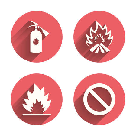 firefighter: Fire flame icons. Fire extinguisher sign. Prohibition stop symbol. Pink circles flat buttons with shadow. Illustration