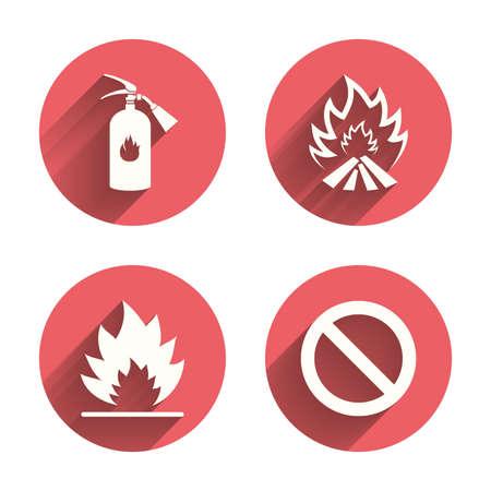 bombera: Iconos de la llama de fuego. Muestra del extintor. Prohibición símbolo de detención. círculos rosados ??botones planos con la sombra. Vectores