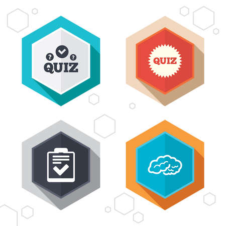 feedback form: Hexagon buttons. Quiz icons. Human brain think. Checklist symbol. Survey poll or questionnaire feedback form. Questions and answers game sign. Labels with shadow.