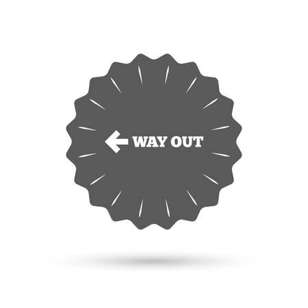 way out: Vintage emblem medal. Way out left sign icon.